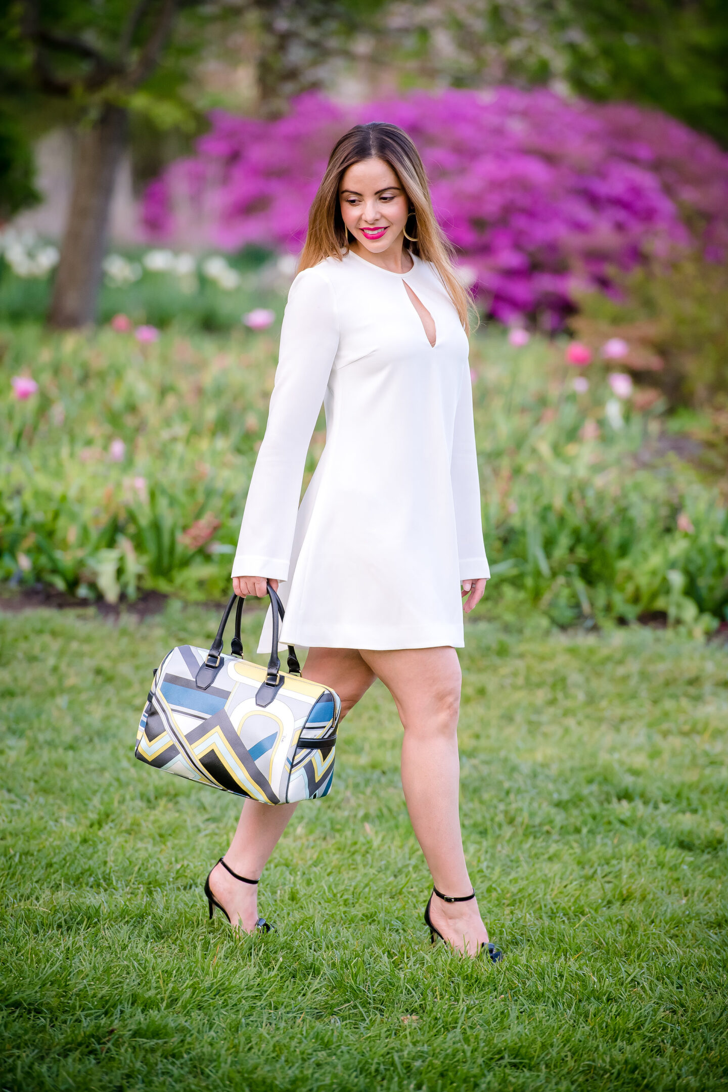 Little White Dress with Pucci Handbag
